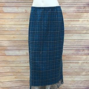 SAG Harbor Plaid Long Skirt Fringe Hem Size 14